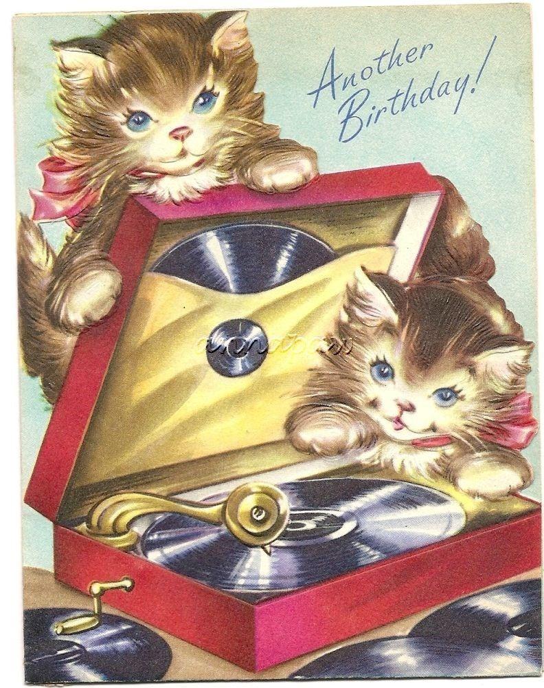 Kitty Cat Record Player Turntable Vintage Greeting Card Hampton Art