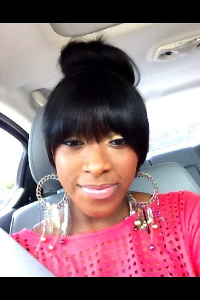 Bun And Bangs Hairstyle With Weave : bangs, hairstyle, weave, Bangs, Styles,, Hairstyles,, Human