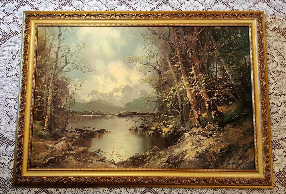 Vintage Landscape Print on Board Secluded Inlet Signed