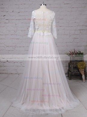 248da0d1041 A-line Scoop Neck Lace Tulle Sweep Train Appliques Lace Wedding Dresses   Milly00023134
