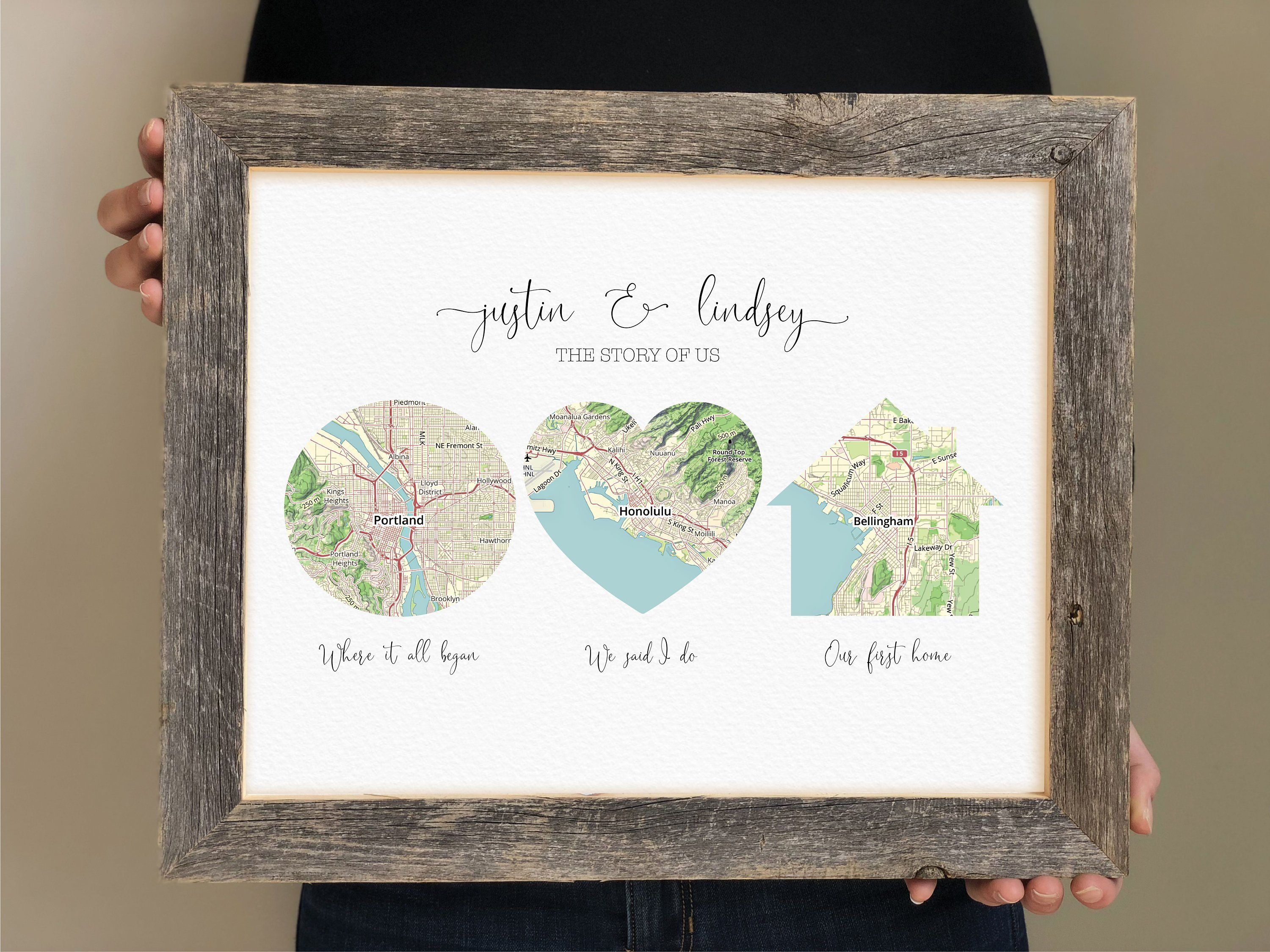 Love Story Print Christmas Gift For Wife Christmas Gift For Husband Gift For Boyfriend Maps In Multiple Shapes That Tell A Story Personalised Gifts For Husband Bride And Groom Gifts Wedding