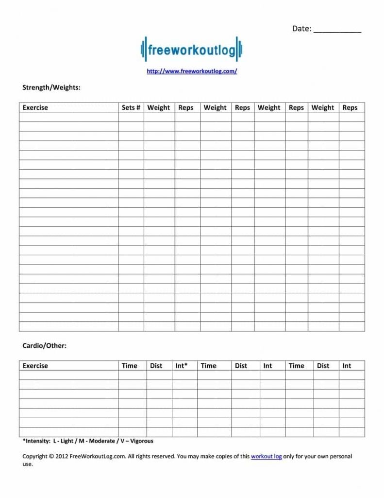Printable Workout Fitness Templates With Images Workout