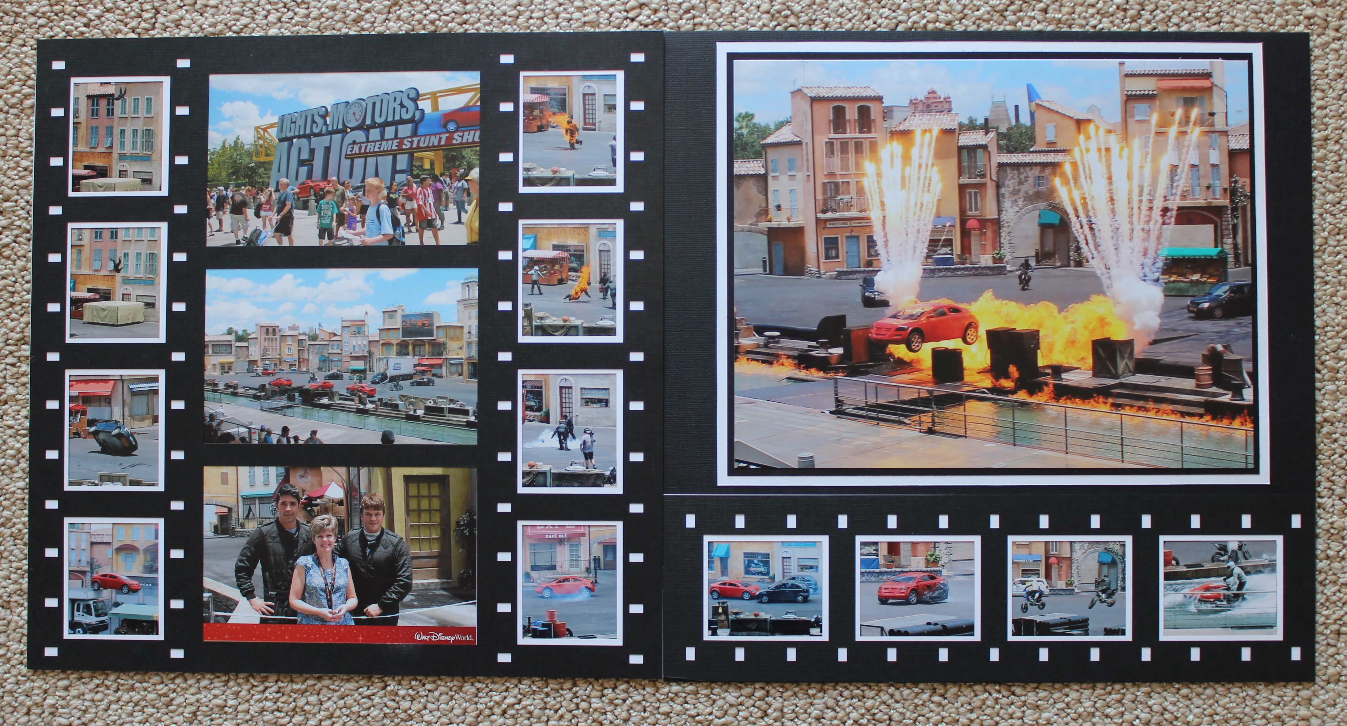 Disneyus lights motor action scrapbook layout scrapbooks