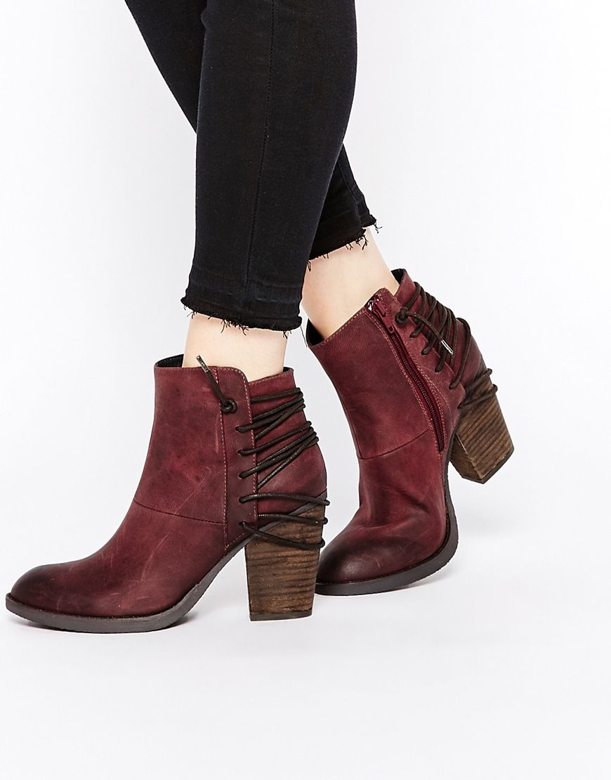 8c782631dc8 Image 1 of Steve Madden Raglyn Wine Leather Lace Back Heeled Ankle Boots