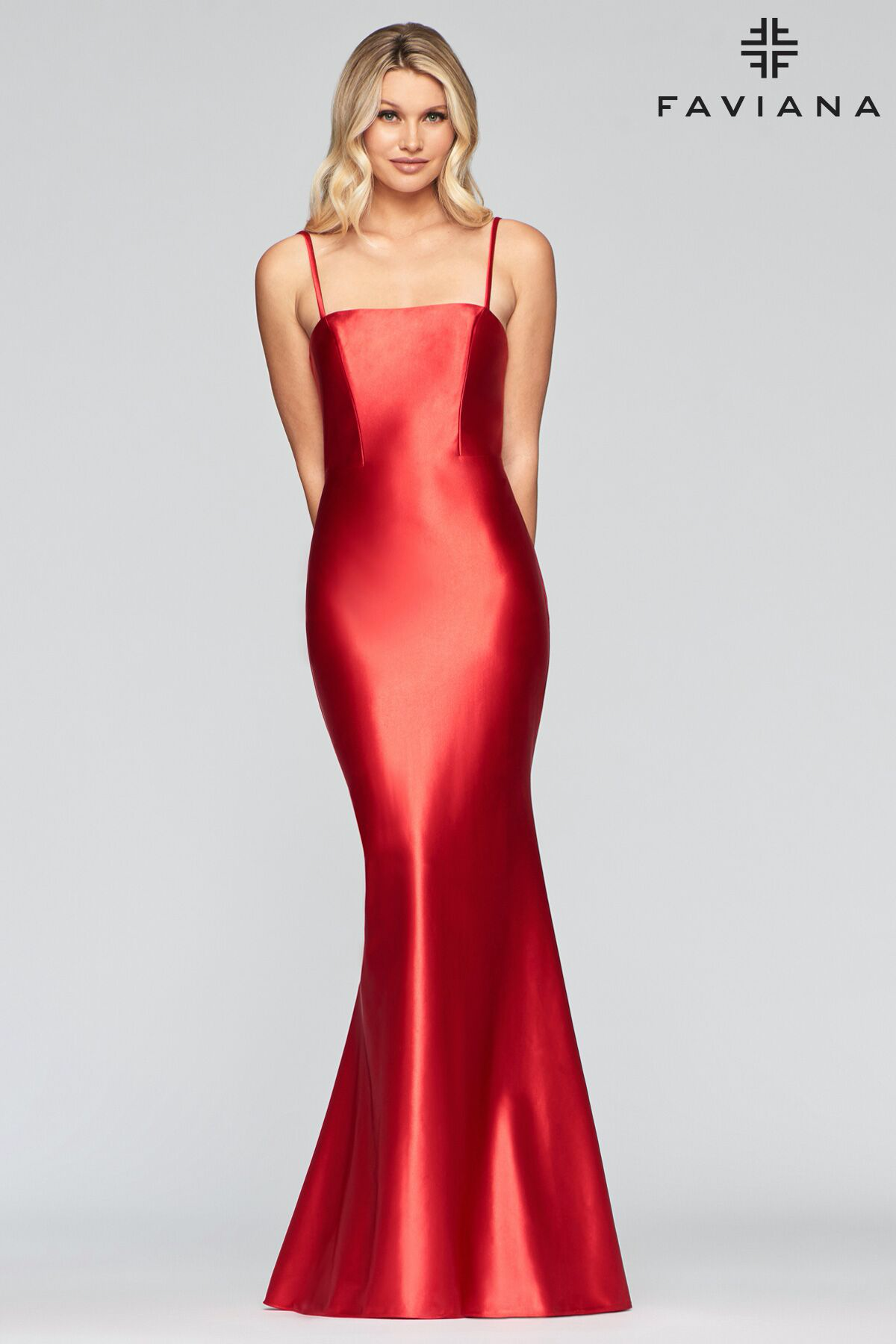Faviana S10411 Satin Dress Long Black Long Sleeve Cocktail Dress Stretch Satin Dress [ 1800 x 1200 Pixel ]