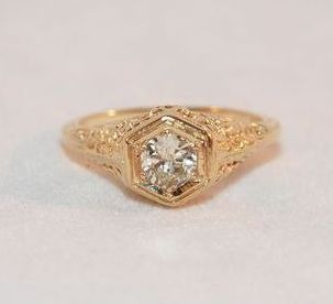 Art Deco Diamond and 14K Gold Solitaire Ring