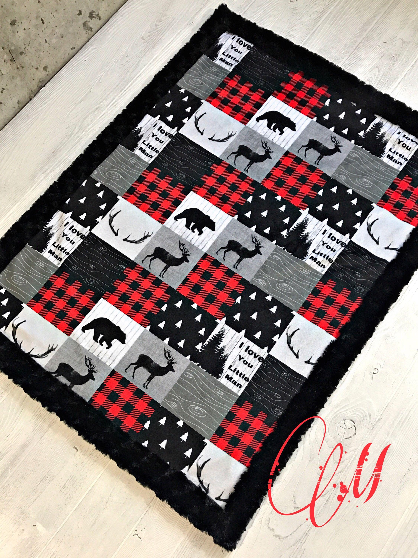 Buffalo Check Minky Baby Blanket Buffalo Plaid Blanket Faux Quilt Little Man Crib Blanket Twi Baby Boy Blankets Sewing Baby Boy Quilts Diy Baby Blanket