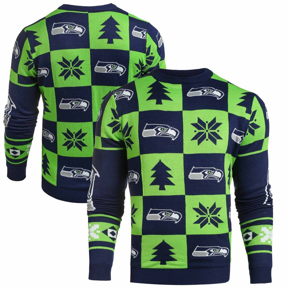 buy online 62644 cb467 Klew College Navy Seattle Seahawks Patches Ugly Sweater ...