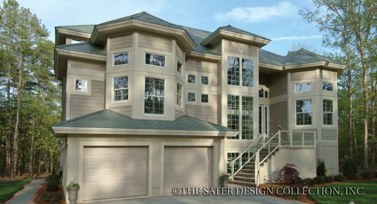 #Sater Design The Cutlass Key home plan is a beautiful, luxury cottage with 4 bedrooms & 5 and a half bathrooms. It has 4143 square feet (460.33m2) of living space.Graceful living abounds in this splendid and very livable design. Turreted roofs and a three-storey glass staircase highlight the front of the home. The exterior blends siding, wood lattice and a metal roof, making it perfect for any region. #threestoreyhomeplans