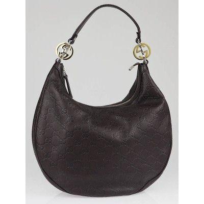 f16f25866df9 Gucci Dark Brown Guccissima Leather GG Twins Medium Hobo Bag ...