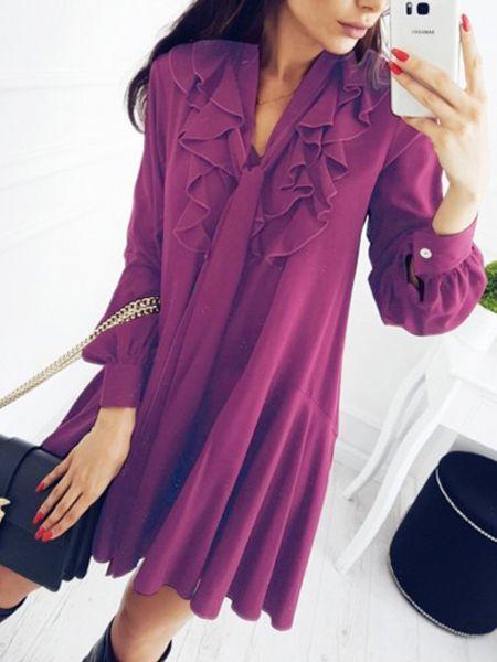 cbecdaf35 Purple V-neck Tie Front Ruffle Trim Long Sleeve Mini Dress Ruffles