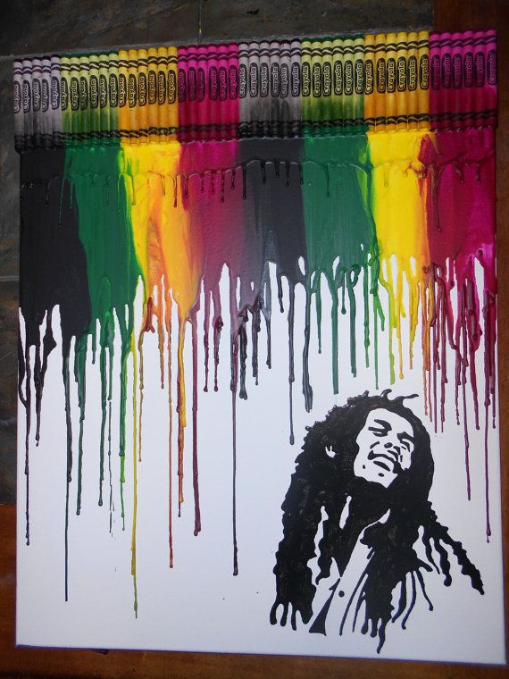 Bob Marley Melted Crayon Painting By Onceuponacrayon On