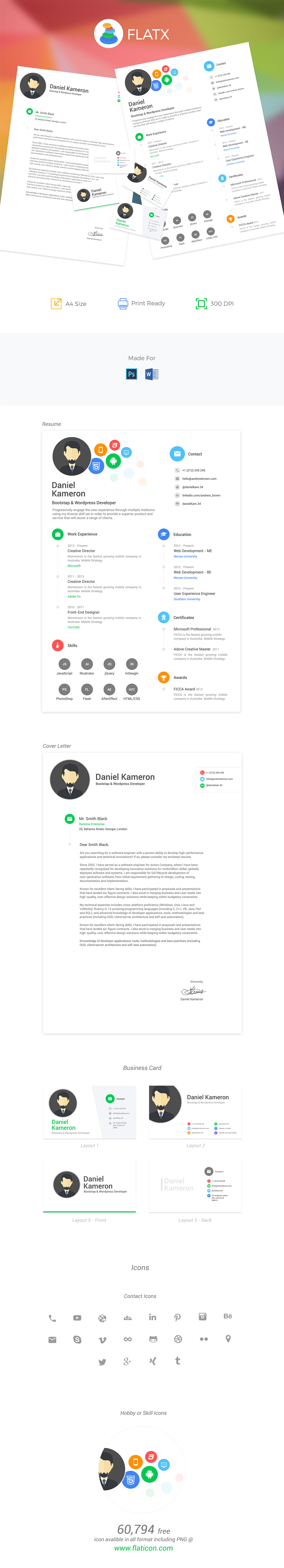 flat multicolor designer resume template with cover letter and 3 different layout business cards