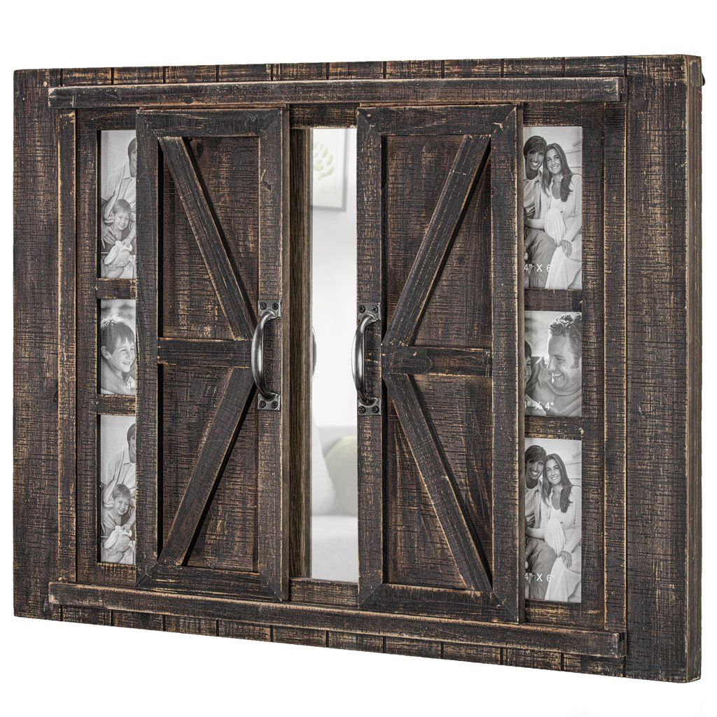 Sliding Barn Door Picture Frame Collage With Mirror 20 X 27 In