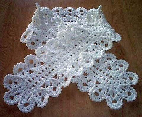 схема вязания крючком ажурного шарфа шарфы снуды накидки шарф