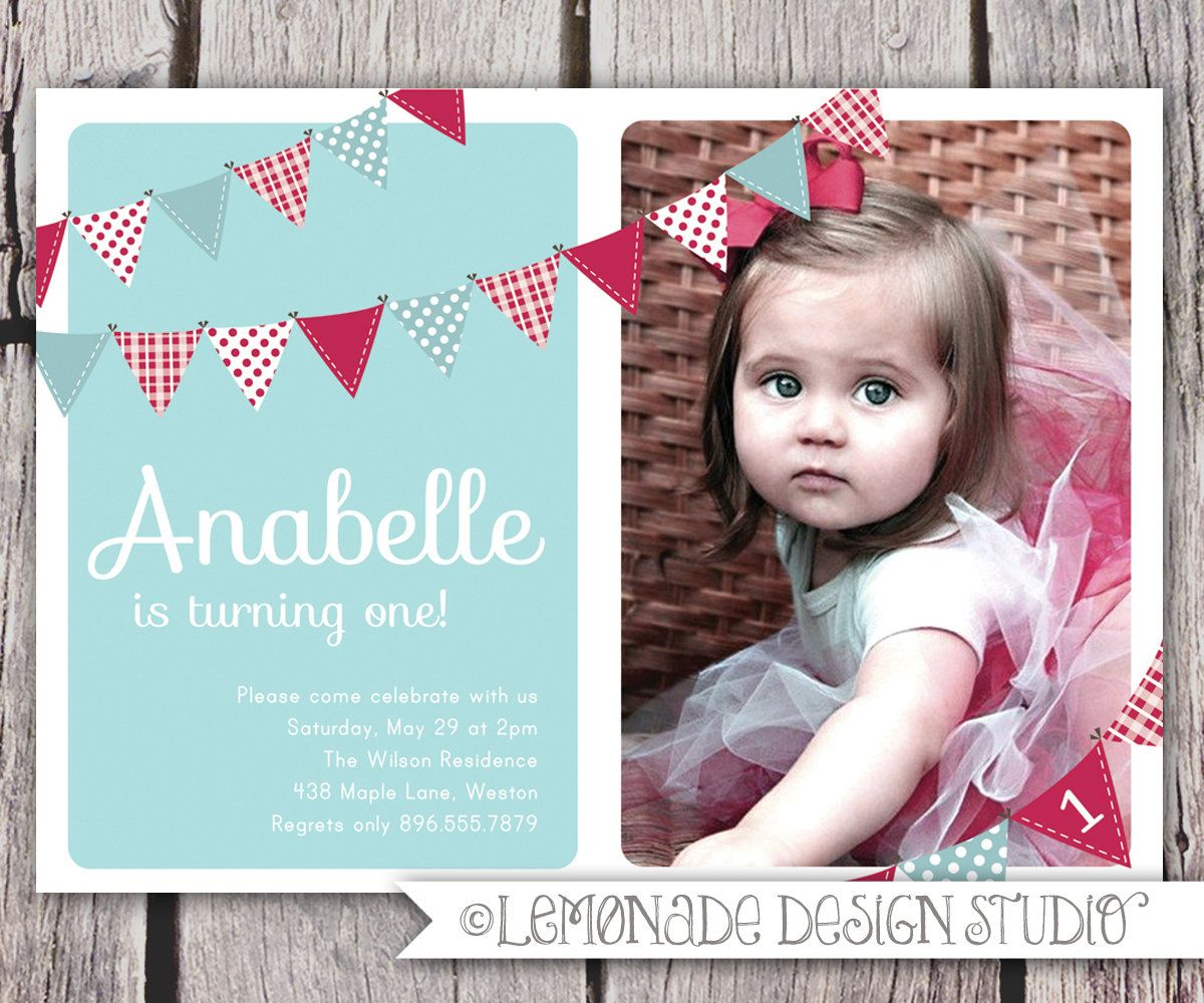 First Birthday Invitation Bunting Flags Banner Photo Printable - Birthday invitation for baby