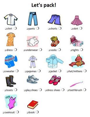 Visual Travel Packing List For Kids