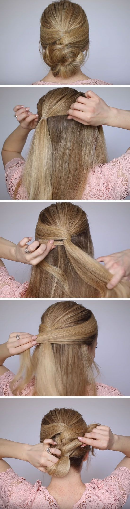 Pretty low bun quick diy prom hairstyles for medium hair and easy homecoming long also rh pinterest