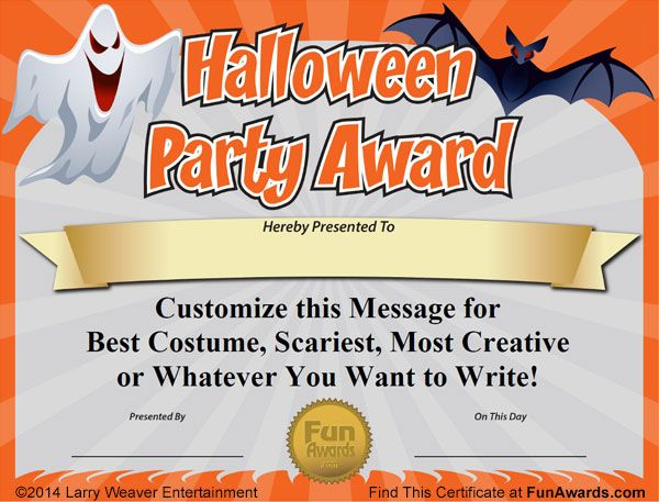 free printable halloween award certificates | It´s a certificate ...