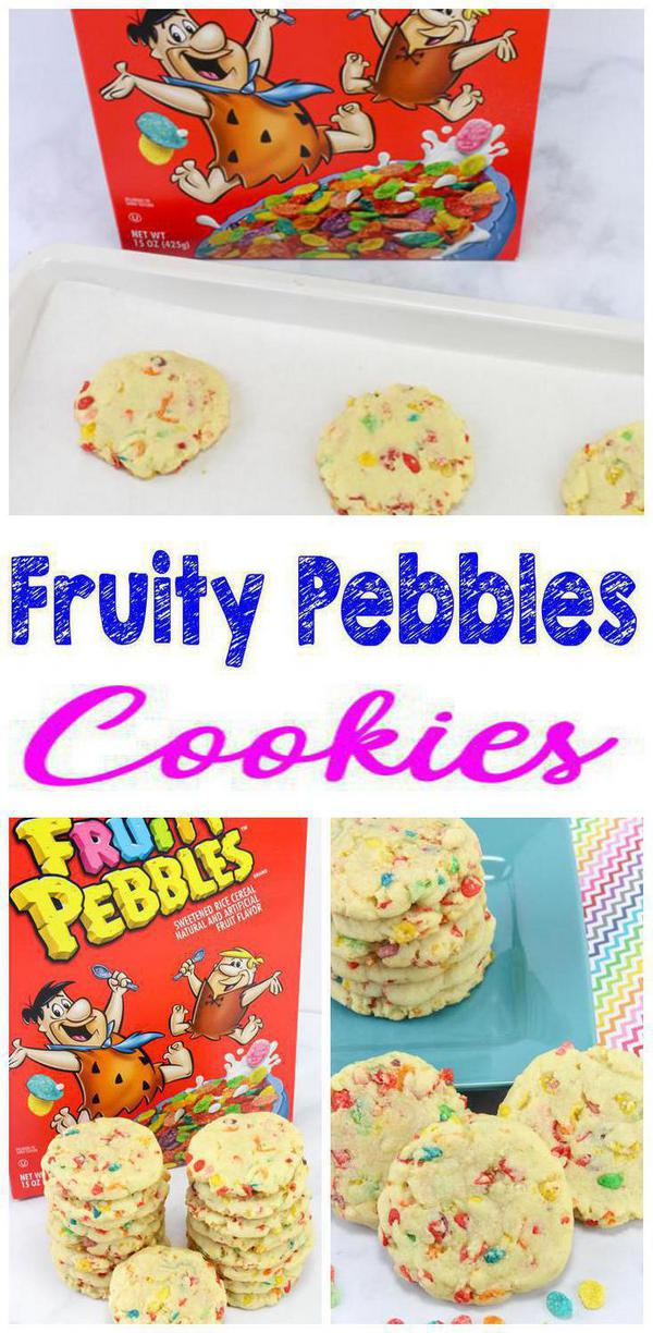 Cereal Cookies! EASY Fruity Pebbles Cookie Recipe – Simple Desserts – Breakfast – Kids Parties #childrenpartyfoods