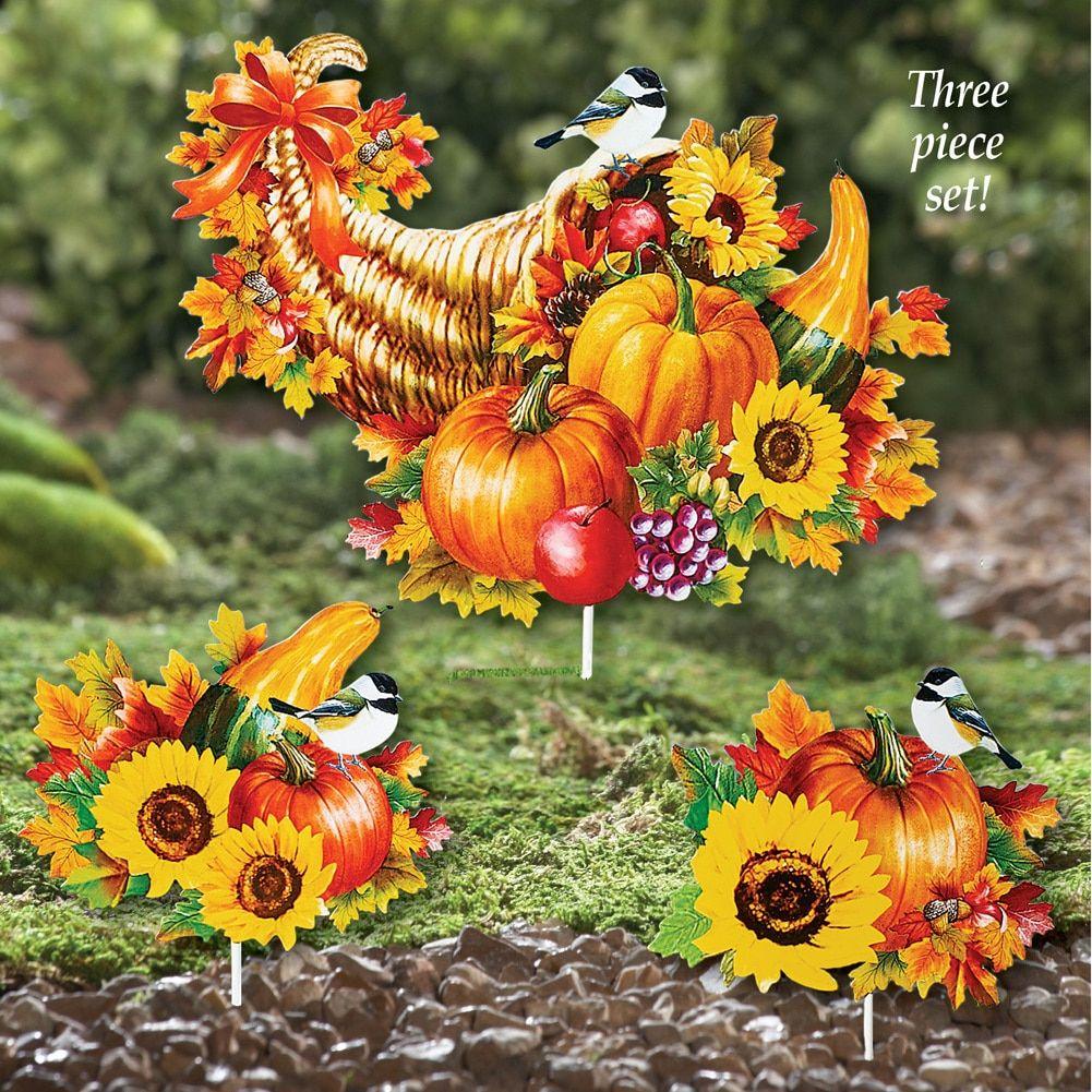 Cornucopia Garden Stake Set Outdoor Fall Décor