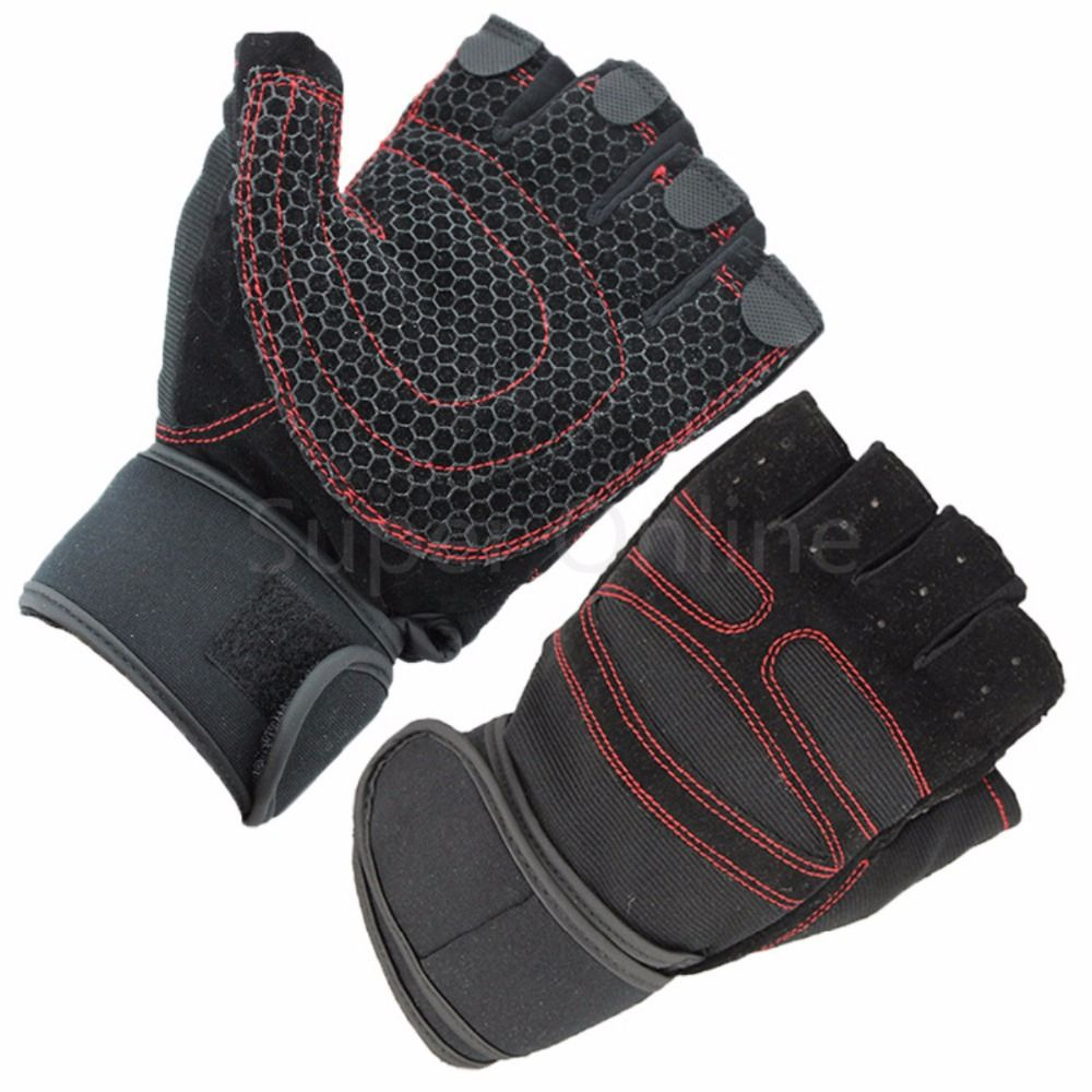 Mens gloves no fingers - Sports Gym Women Men Gloves Body Building Training Fitness Half Finger Breathable Weight Lifting Gloves