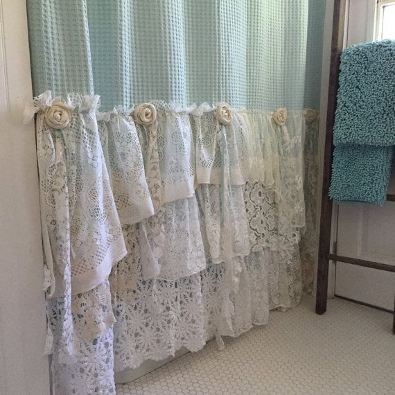 Shabby Cottage Chic Shower Curtain Grey Lace Ruffle Girls Bohemian - gardinen f r k chenfenster