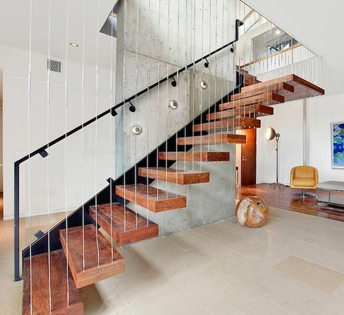 Suspended Style 32 Floating Staircase Ideas For The: Vertical Stainless Steel Wire