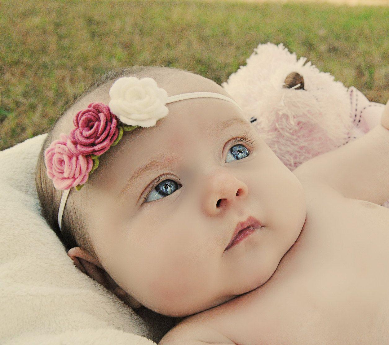 Baby flower headband trio of pink roses newborn headband