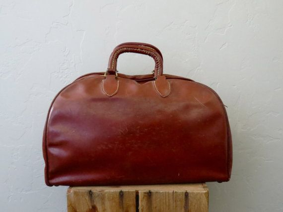 Brown Leather Over Night Bag // 60s Luggage with by BarnabyJack, $58.00