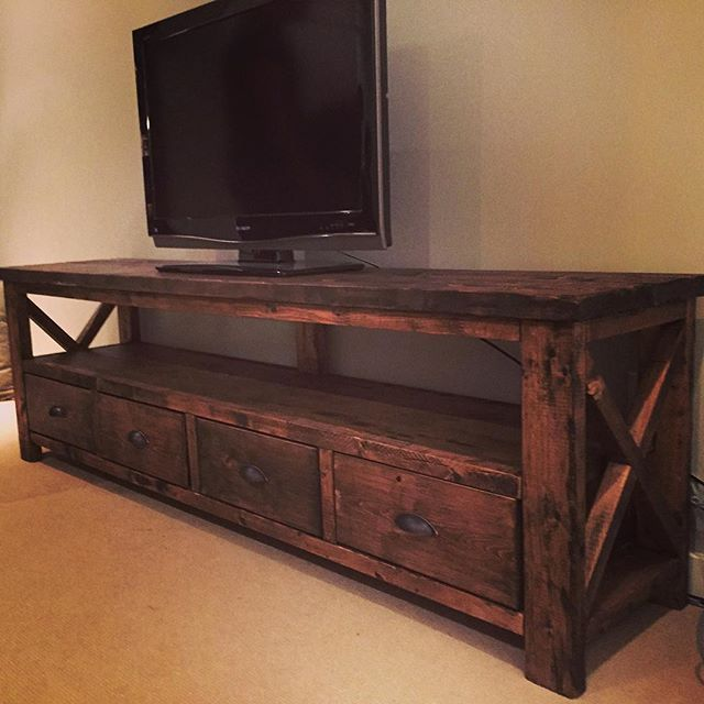 Cottage TV Cabinet Coastal Entertainment Center Rustic