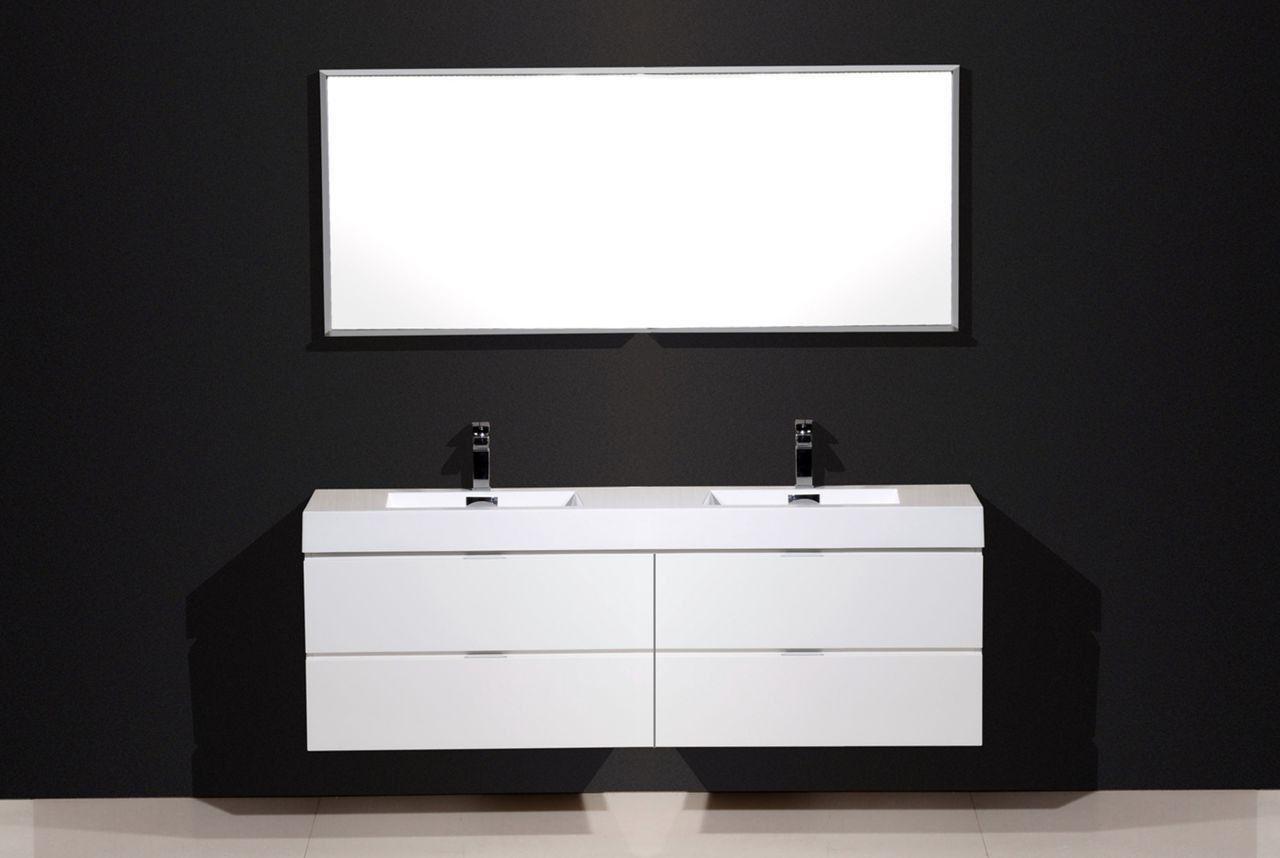 72 white bathroom vanity double sink. Bliss 72  High Gloss White Wall Mount Modern Bathroom Vanity Double Sink