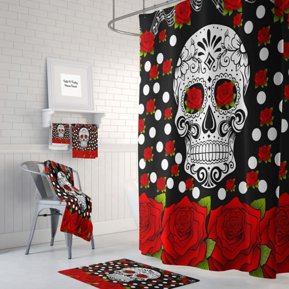 sugar skull shower curtain , day of the dead , red roses , bath