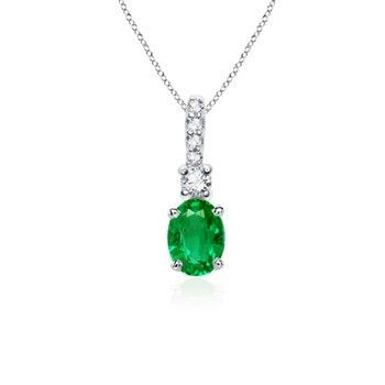 Angara Solitaire Pear Emerald Pendant with Diamond in White Gold nBSA703Vn