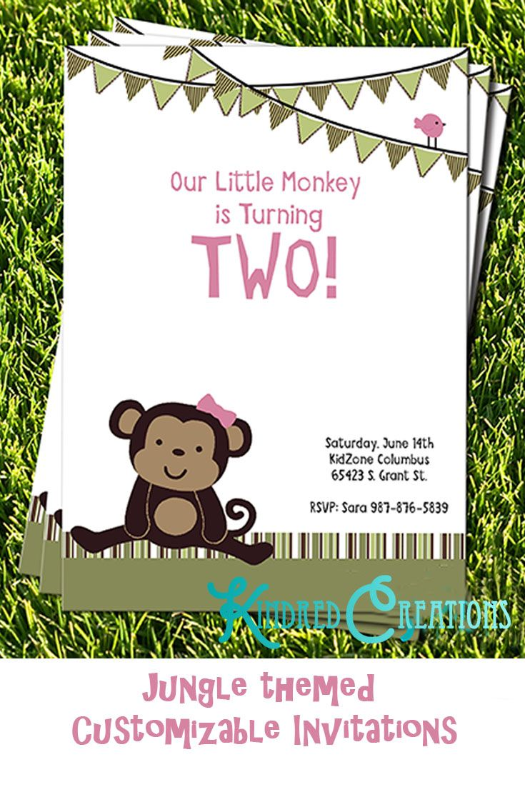 Little Monkey Birthday Party Invitation | Fully, Digital invitations ...