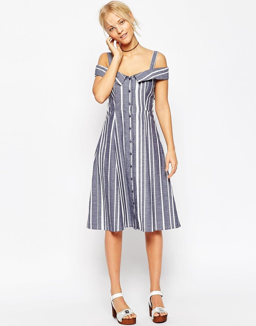 58c5a33d805 Image 4 of ASOS Off Shoulder Button Through Midi Dress In Stripe