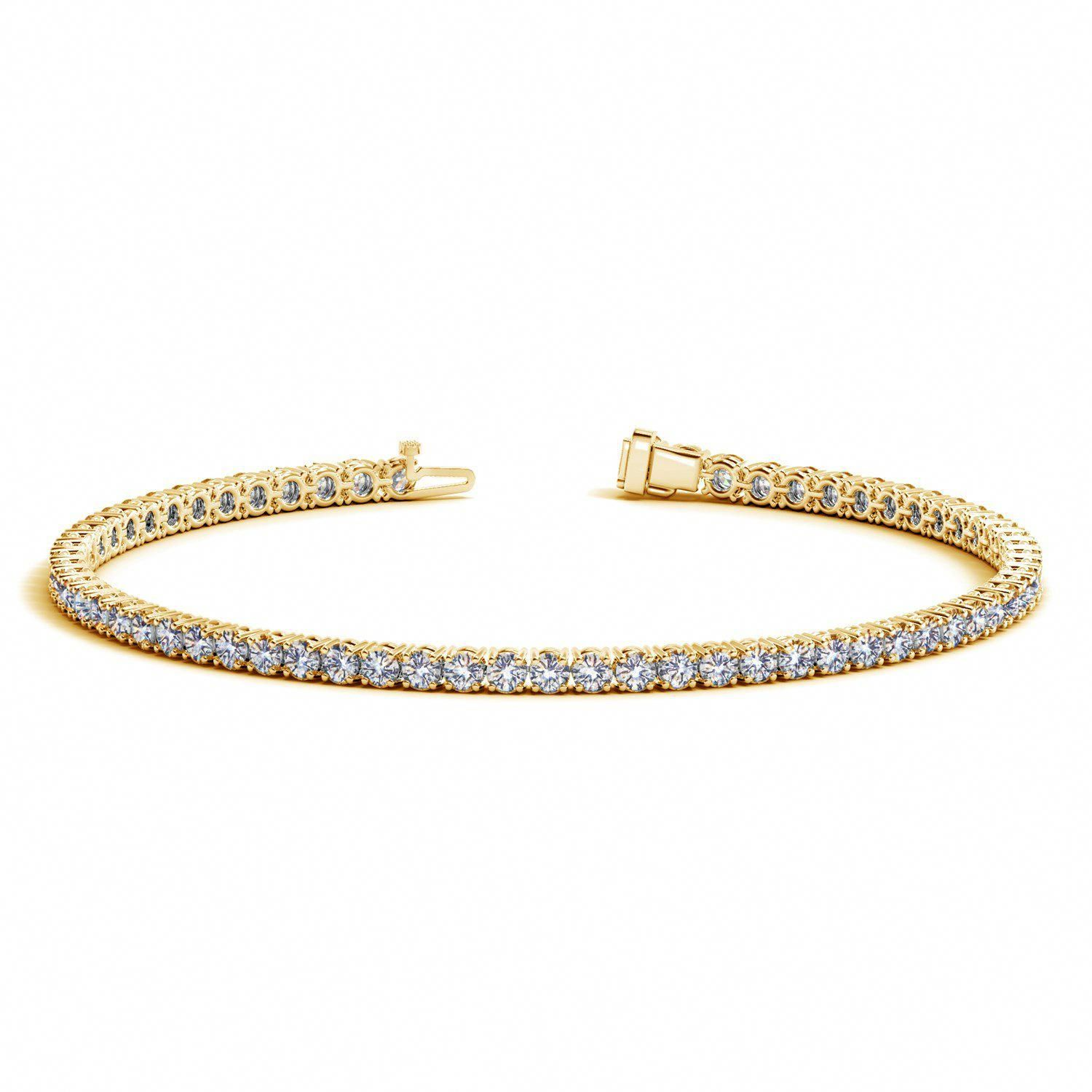 K yellow gold round diamond tennis bracelet ct tw