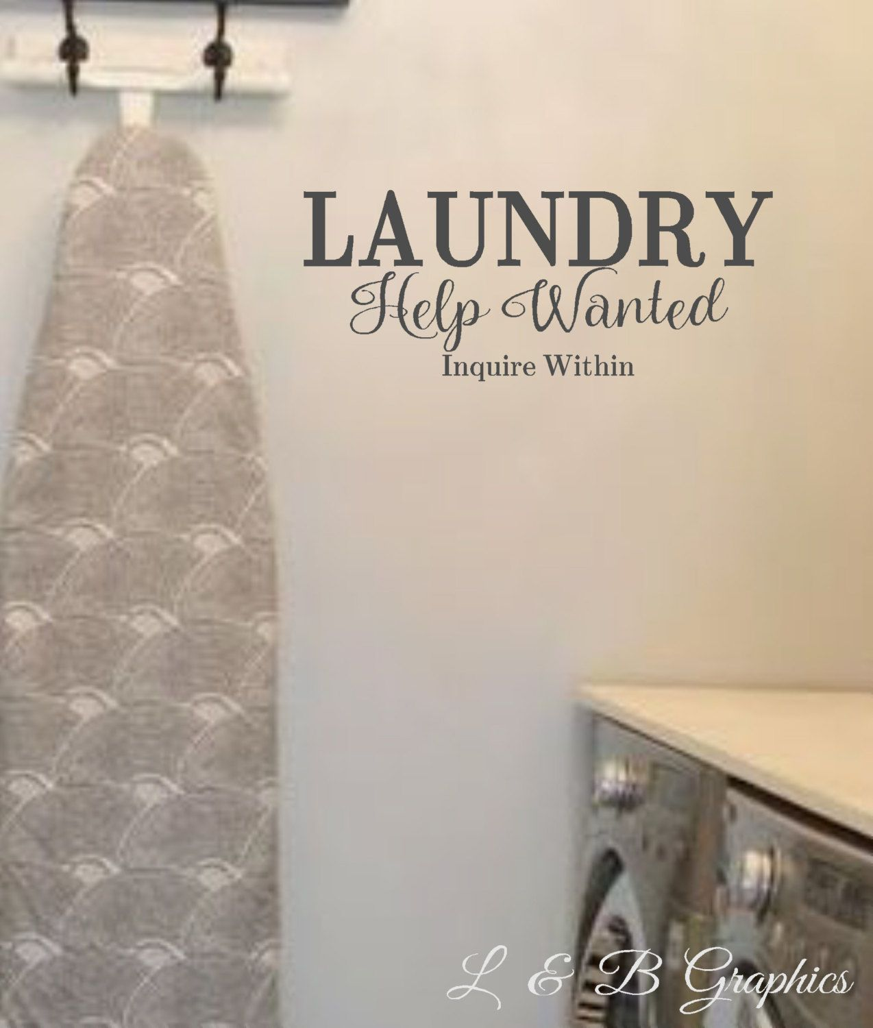 Laundry Room Wall Sayings Adorable Laundry Help Wanted Vinyl Wall Decal Laundry Room Decor Humor Review