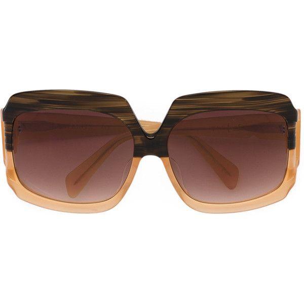 Sama Eyewear Labyrinth sunglasses (€525) via Polyvore featuring accessories, eyewear, sunglasses, brown, acetate sunglasses, acetate glasses, brown sunglasses, brown glasses and sama eyewear