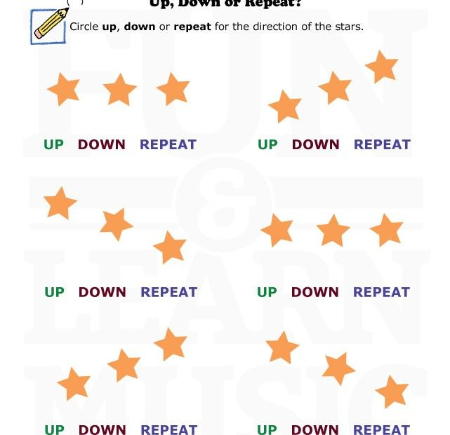 Up, down or repeat? Fun music worksheet! | Directional Reading ...
