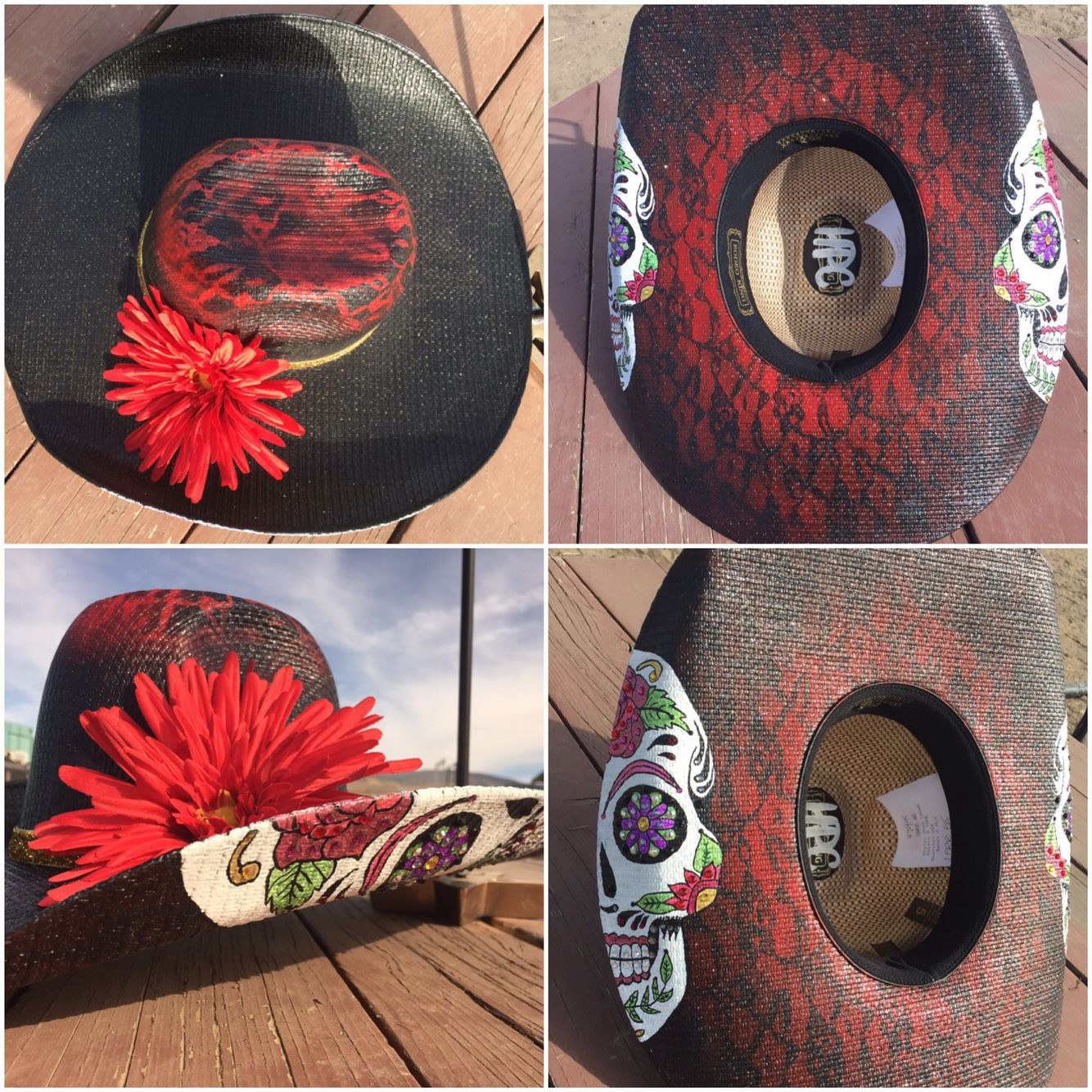 d022b1bd Sugar skull Lace Red and black Custom cowboy hat Hand painted ...
