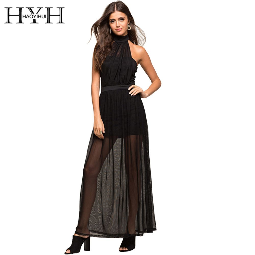 HYH HAOYIHUI Sexy Dress Women Sleeveless Backless Mesh Halter Long A-line Dress Women Clothing Summer Sheer Casual Slim Vestidos