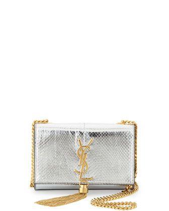 2201e53a0c Cassandre Small Metallic Python Crossbody Bag