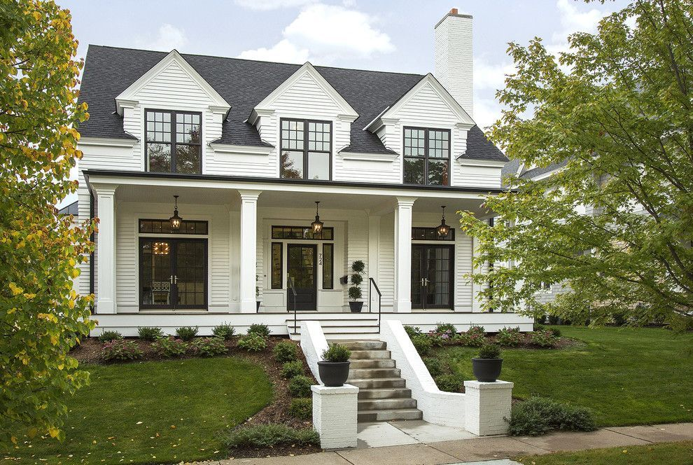 Marvin integrity for a transitional exterior with a porch for Black and white house exterior design