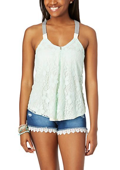 image of Color Block Lace Front Tank Top