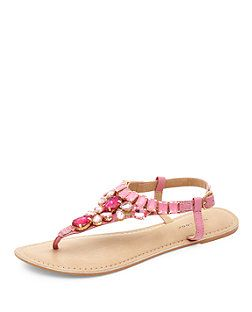 80cd4732a Pink Leather Multi Gem Sandals