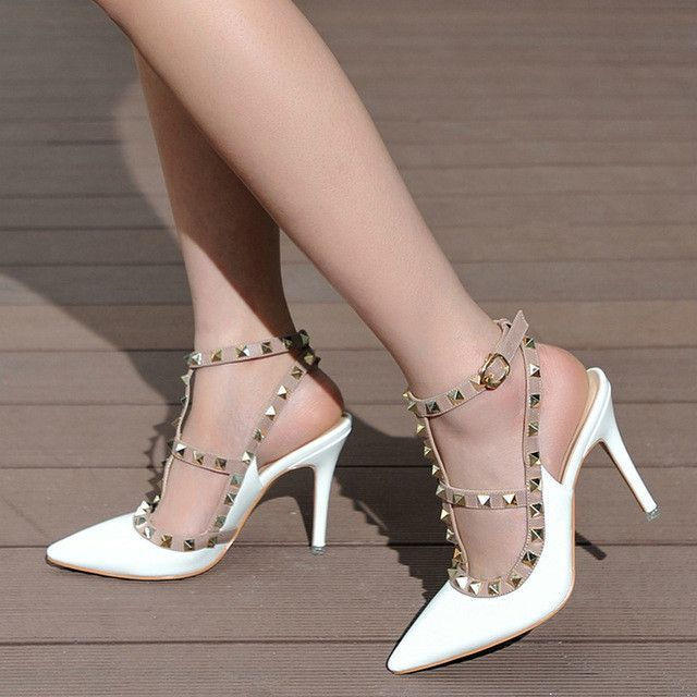 44f2556414c7 High Quality Brand Designer Rivet Shoes 10cm Patent Leather Studded  Slingback Heels Sandals Sexy Women High Heels Sandals Pumps