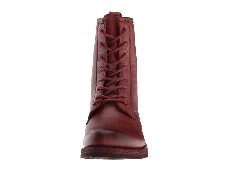 6ce58240f6b Frye Veronica Combat Women's Lace-up Boots Red Clay Soft Full Grain ...