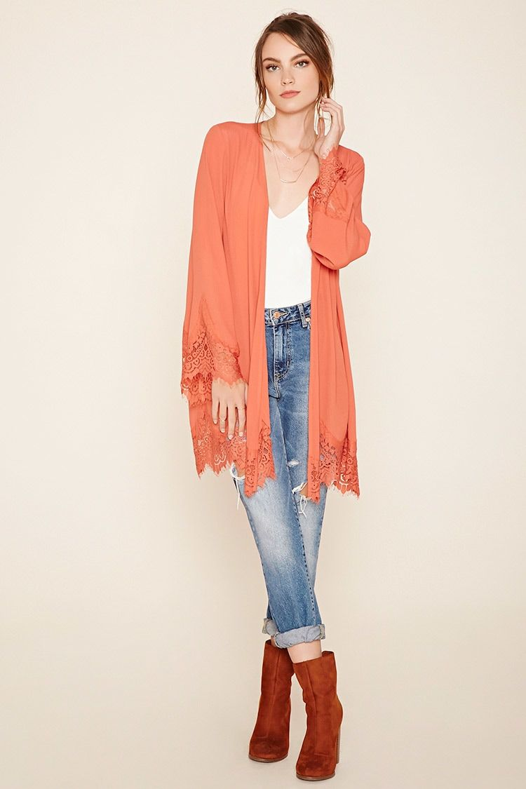 Forever 21 Contemporary - A crepe woven open-front cardigan with a ...