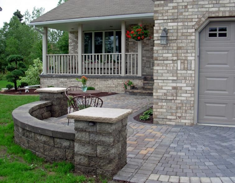 yard design ideas front patio i love the idea of a low wall that has a built in bench bench could be on the top of the wall or on - Front Patios Design Ideas